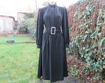 Black Silk Dress Vintage / Size EUR 40 / 42 / UK12 / 14