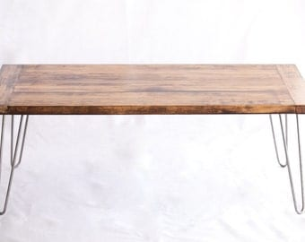 Mid-Century Modern Industrial Coffee Table with Hairpin Legs