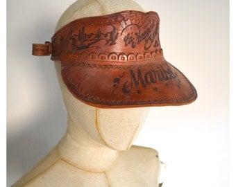 Vintage Handmade Hand Tooled Leather Sun Visor Hat Genuine Leather Hippie Souvenir Maribel ed. Honegon Sonora Cactus Cacti Desert Tramp Art
