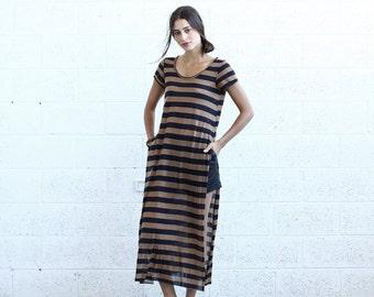 Summer SALE SALE! Striped Maxi T-shirt dress, Black&Brown