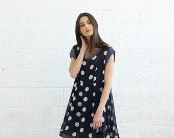 Valentines day Summer Sale Sheer Polka Dot dress, Blue