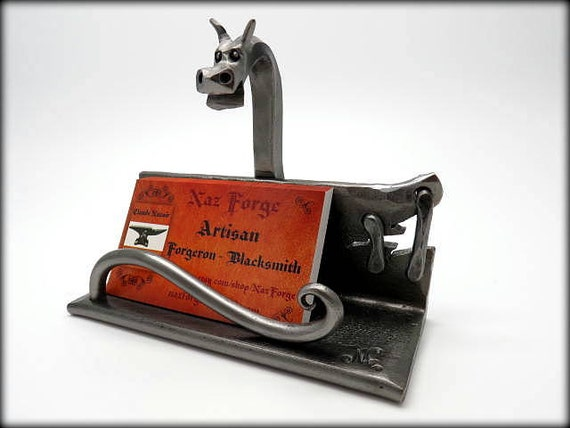 DRAGON BUISNESS Card Holder - Metal -  Hand Forged and Signed by Blacksmith Naz - Dragons - Metal Sculpture - Desk & Office