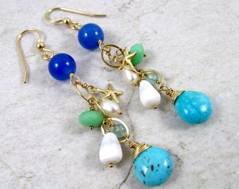Gemstone Earrings, Gold Chain Dangle, Starfish Charm, Hawaiian Shells, Turquoise Blue Gemstones, Mothers Day Gift Idea, Hawaii Beach Jewelry