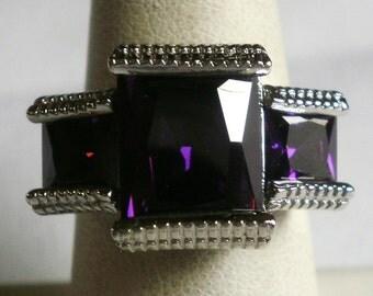 Silver Purple Stone Ring-Size 6 7/8