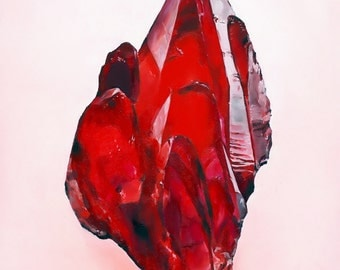Rhodochrosite Red Mineral Print of Oil Painting