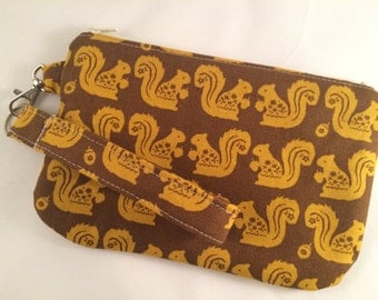 Brown and Gold Squirrels Wristlet with Detachable Wrist Strap