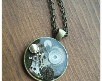 Women's Mens Steampunk Necklace Watch Gears & Parts Resin