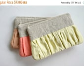 ON SALE SET of 3 Linen bridesmaid Ruched clutch bags pleated linen choose your colour bridal clutch