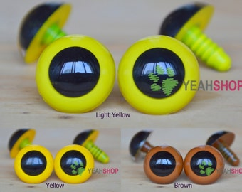 22mm Colorful Safety Eyes Plastic Doll Eyes - Light Yellow / Yellow / Brown