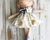 Willow ~ SpunCandy Classic Doll, Heirloom Quality Doll, Modern Rag Doll, Nursery Decor, Kids Decor, Fabric Doll, Cloth Doll, Handmade Doll