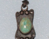 TAXCO Small Green Turquoise Sterling Pendant / Charm / Eagle Mark 157 / Free US Shipping / CookieGrandma60