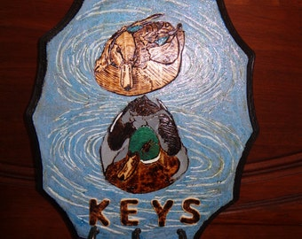 Country/Cabin/Rustic Pair Mallard Ducks Key Holder/ Wood Burned and Painted