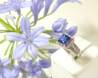 Princess Cut Blue Kate Middleton Engagement Ring