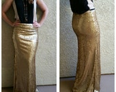 Small Gold Maxi - Gorgeous high quality sequins- Long sequined skirt -Custom length S, M, L, XL (Handmade in LA!)