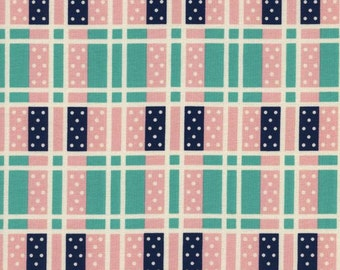 Lucky Strikes Domino Plaid in Turquoise, Kim Kight, Cotton+Steel, RJR Fabrics, 100% Cotton Fabric, 3018-2