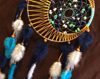 Blue Lagoon Moon Dream Catcher- Moon Motions Signature Moon Dream Catcher- Made to Order