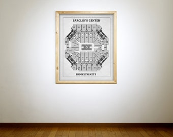 Vintage Print of Barclays Center Seating Chart on Premium Photo Luster Paper Heavy Matte Paper, or Stretched Canvas. Free Shipping!