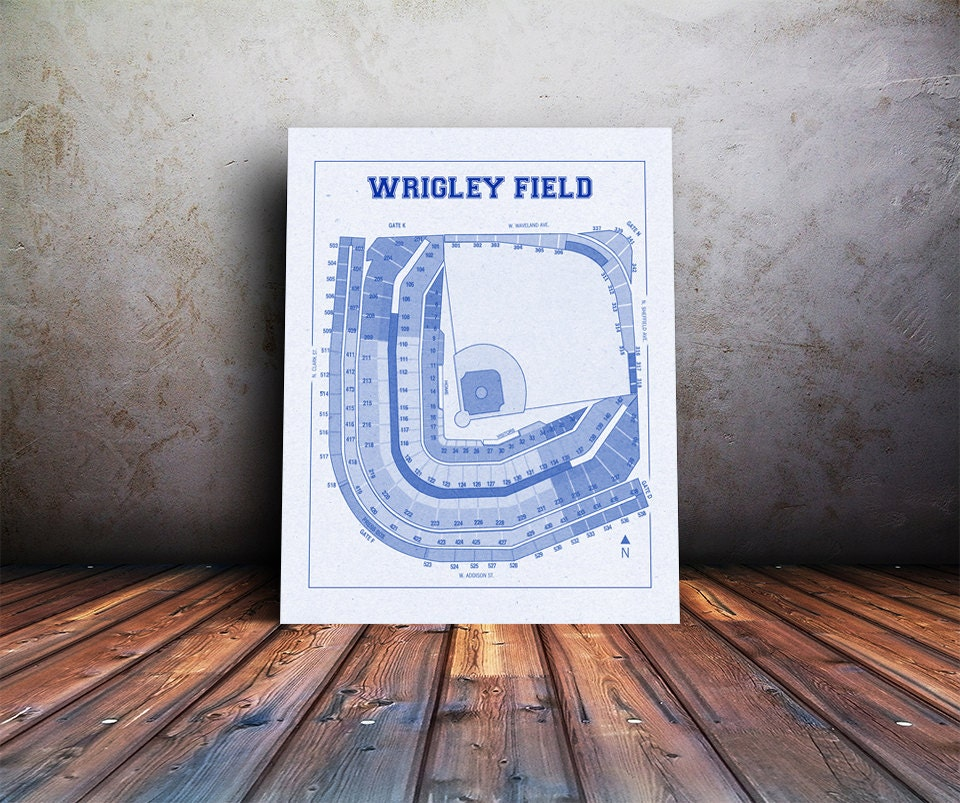 Vintage print of wrigley field seating chart blueprint for 12x15 calculator
