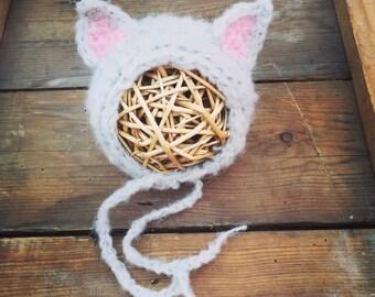 Cute kitten, cat bonnet. Choose your colour. Newborn. Great photo photography prop. Soft fluffy mohair