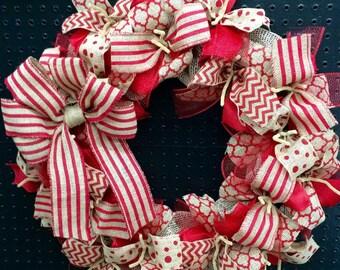 Red Burlap Wreath Wall Hanging-Natural Burlap