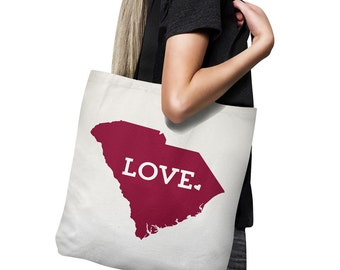 South Carolina Tote Bag // Red // Gift For Her  // Home State Love // Canvas Totebag // USC Gamecocks