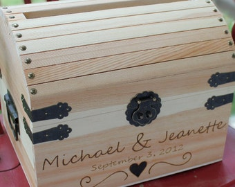 Wedding Card Box Wedding Keepsake Box Wedding Treasure Box with card slot NAS