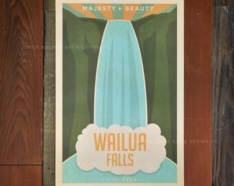 Wailua Falls, Kauai - 12x18 Retro Hawaii Travel Print