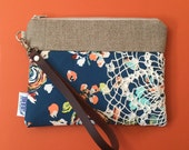 Navy Floral Leather Wristlet Vintage Lace - Made to Order