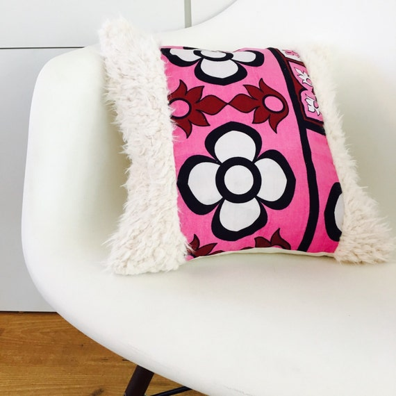 "Pink Boho Retro Flower Pillow Cover 14""x14"" Square Cushion Pillow Ethnic Bohemian African Pink Floral Motif Kenyan Fabric Faux Fur"