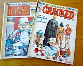 2 Vintage Cracked Magazines Bionic Man in Star Wars and Famous Disaster Movies 1977