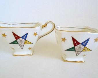 Royal Winton Masonic Cream & Sugar Bone China Vintage