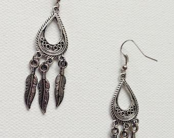Silver Feather Chandelier Earrings