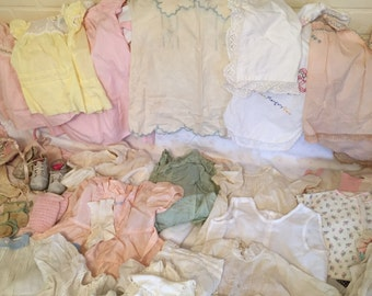 HUGE lot Baby clothes 1900-40s 75+pcs.project lot as is poor pitiful pearl altered fixer uppers! See description !