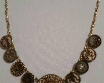 Antique Button Necklace 1890 Celluloid and Brass Star of David Center BUTTON