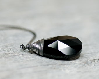 Black Swarovski Crystal Necklace Jet Black Gift For Wife Swarovski Necklace, Pendant Necklace, Jewelry For Her Elegant Birthday Gift For Her