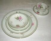Vintage 6 Piece Place Setting Noritake Porcelain China Priscilla Pattern Circa 1950's