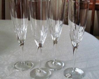4 Vintage Waterford Champagne Flutes Marquis Collection Claria Pattern Circa 1990's