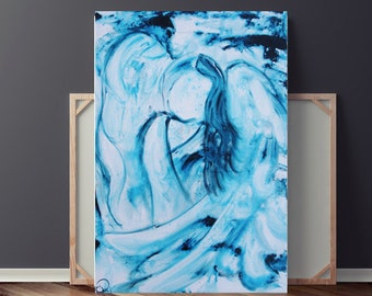 Angel Painting, Painting on Canvas, Blue Painting, Spiritual Painting, Contemporary Painting, Large Original Painting, 36x24, Heather Day