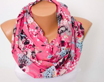 SALE -Floral summer scarf ,cotton scarf ,infinity scarf ,loop scarf ,pink