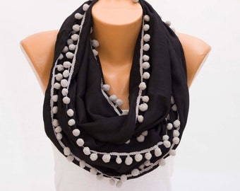 Black Infinity scarf with pompom trim  ,Loop scarf ,soft pashmina scarf ,CHOOSE YOUR COLOR ,
