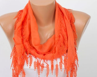 SCARF SALE -Fringed lace summer  scarf in orange   ,triangle lace scarf , guipure scarf,