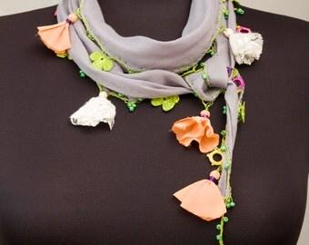 Clearance sale -Turkish oya scarf , turkish yemeni,hand crocheted lace border,summer scarf, pale grey