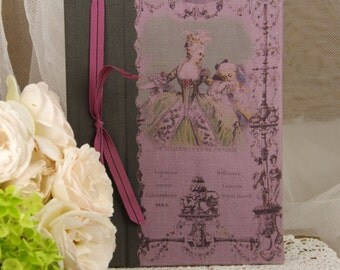 Note book  vintage shabby chic Marie Antoinette castle XVIII century love
