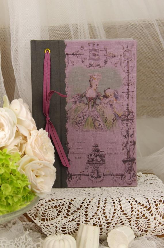 Saint Valentin Note book  vintage shabby chic Marie Antoinette castle XVIII century love
