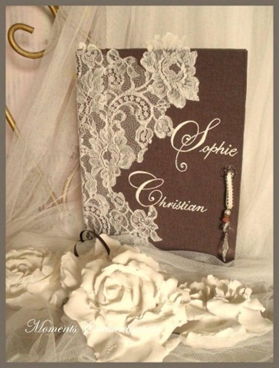 """Saint valentin Guest book """"Nuage de Dentelle"""" lace from Le Pas de Calais french lace  with your name Personalized"""