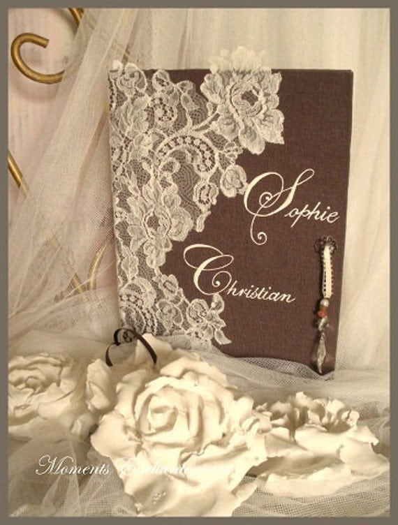 "Guest book ""Nuage de Dentelle"" lace from Le Pas de Calais french lace  with your name Personalized"