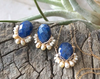 SET: Lapis lazuli & freshwater pearl wire wrapped cluster necklace and studs earrings