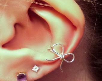 Gold Bow Ear Cuff - 14K Gold ear cuff - rose gold ear cuff - bow ear cuff - wire bow - bow earcuff - wedding bow - wedding jewelry