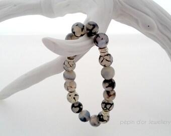Yoga Bracelet - Rutilated Quartz Stone Bracelet - Black and White Gemstone Bracelet - Tourmalinated Quartz Bracelet