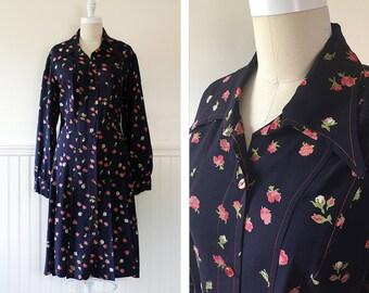1970s Floral Shirt Dress --> 1970s Dress --> Floral Print Dress --> Vintage Size Large --> 70s Dress --> 1970 Dress --> Navy Blue Dress